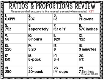 Ratios & Proportions 6th Grade CCSS Test Prep Review Word Problem Task Cards