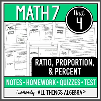Ratios, Proportions, and Percents (Math 7 – Unit 4)