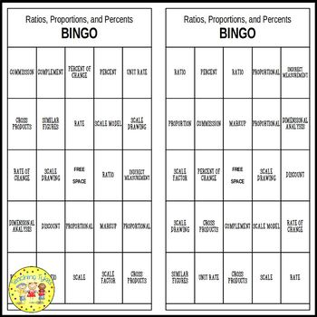 Ratios, Proportions, and Percents Pre-Algebra BINGO