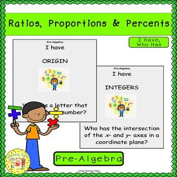 Ratios, Proportions, and Percents Pre-Algebra I Have, Who Has