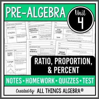 Ratios, Proportions, and Percents (Pre-Algebra - Unit 4)