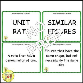Ratios, Proportions, and Percents Pre-Algebra Vocabulary Cards