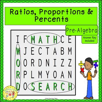 Ratios, Proportions, and Percents Word Search