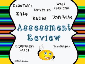 Ratios, Rate, Unit Rate:  Assessment Review/Test Prep