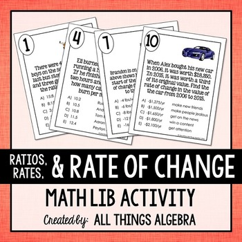 Ratios, Unit Rates, Rate of Change Math Lib