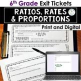 Ratios, Rates, Proportions Exit Tickets Print and Digital