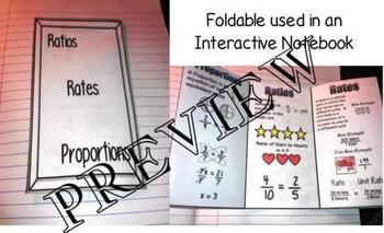 Ratios, Rates & Proportions Foldable INB 6.RP.A.1, 7.RP.A.1, 8.EE.B.5,