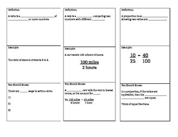 Ratios, Rates, Proportions Notes
