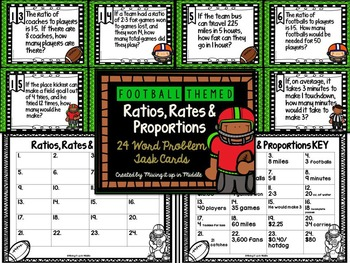 Ratios, Rates, & Proportions WORD PROBLEM Football Themed Task Cards