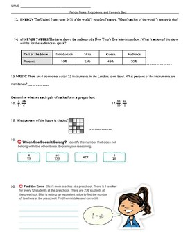 Ratios, Rates, Proportions, and Percents Quiz