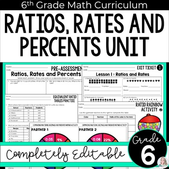 Ratios, Rates, Proportions and Percents Unit (6th Grade)