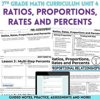 Ratios, Rates, Proportions and Percents Unit : 7th Grade Math