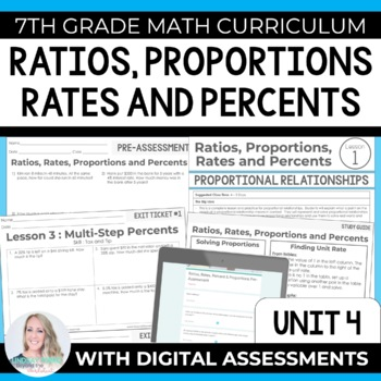 Ratios Rates Proportions And Percents Unit 7th Grade Math By