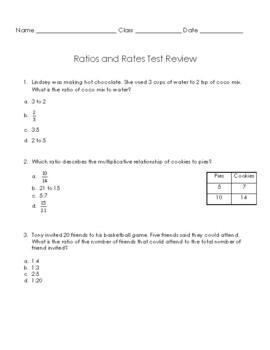 Ratios & Rates Test Plus Review