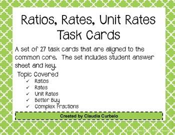 Ratios, Rates, Unit Rates, & Complex Fractions Task Cards