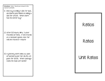 Ratios, Rates, & Unit Rates Foldable