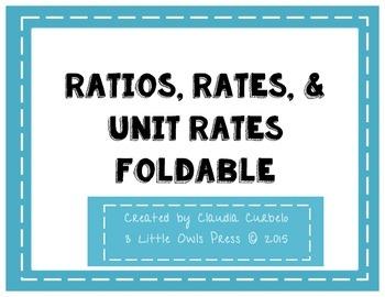 Ratios, Rates, & Unit Rates Foldable