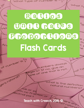 Ratios, Rates, Unit Rates, and Proportions Flash Cards