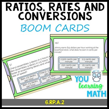 Ratios Rates and Conversions: Digital BOOM Cards and Printable Task Cards