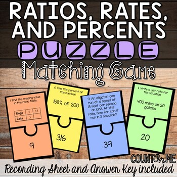 Ratios, Rates, and Percents Matching Game