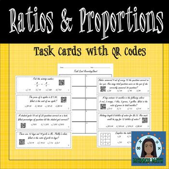 Ratios, Rates, and Percents Task Cards with QR Codes