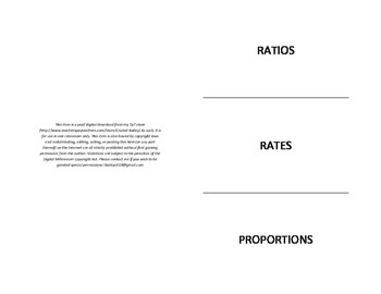 Ratios, Rates, and Proportions Foldable for Interactive Notebook. 6. RP.1-3