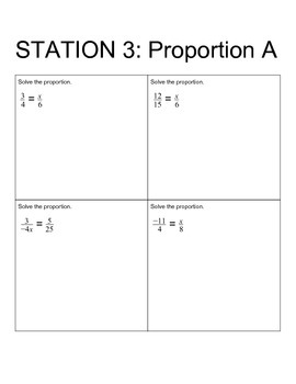 Ratios, Rates, and Proportions Review Stations