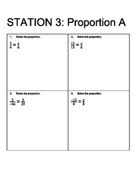 Ratios, Rates, and Proportions Review Stations (with answer key)