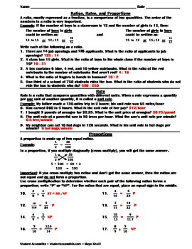 Ratios, Rates, and Proportions Worksheet