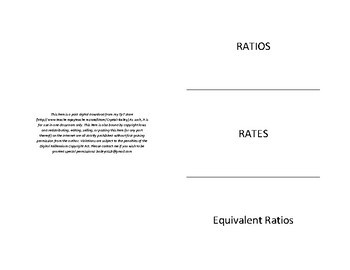 Ratios, Rates, and Equivalent Ratios foldable for Interactive Notebook