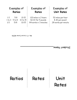 Ratios, Rates and Unit Rates Interactive Notebook Foldable