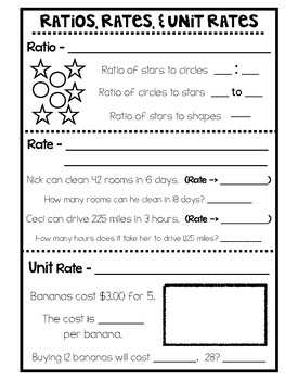 Ratios, Rates, and Unit Rates Practice Activity