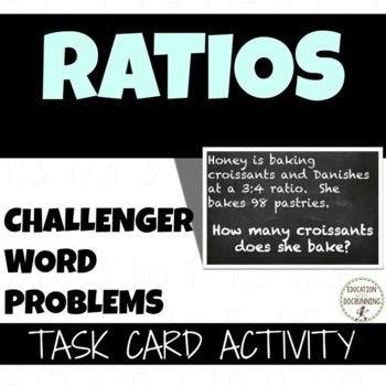 Ratio Word Problem Challengers Task card Activities