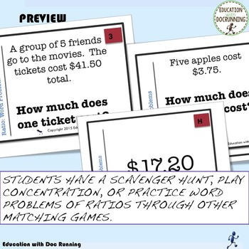 Ratio Word Problems Task Card Activity