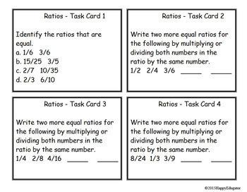 Ratios - Task Cards TEST PREP