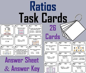 Equivalent Ratios Task Cards/ 5th 6th 7th Grade Ratio Word Problems Task Cards