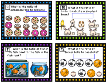 Ratios-Task Cards, PowerPoint Practice and Exit Passes (SOL 6.1)