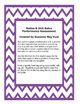 Ratios & Unit Rates Performance Task, Assessment, or Activity