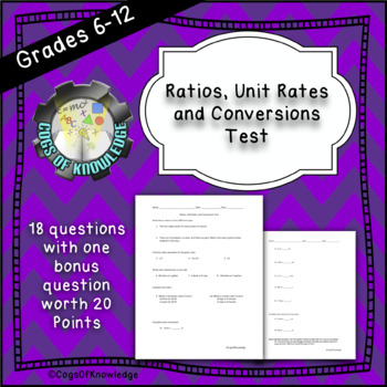 Ratios, Unit Rates, and Conversions Test with Key