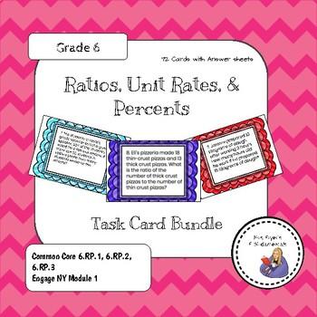 Ratios, Unit Rates and Percent Task Card Bundle