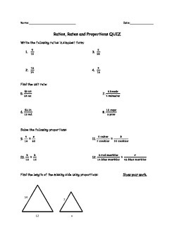 Ratios, Unit Rates and Proportions Quiz