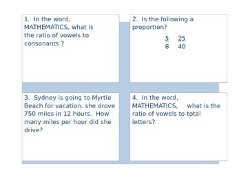 Ratios, Unit Rates, and Proportions Task Cards
