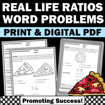 Real World Math Examples, Ratios and Proportions Worksheets 6th 7th ...
