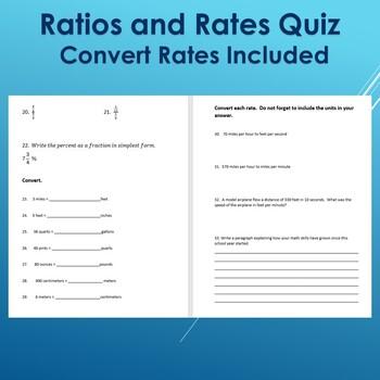Ratios and Convert Rates Quiz