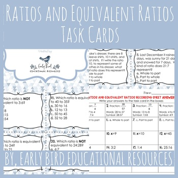 Ratios and Equivalent Ratios Task Cards