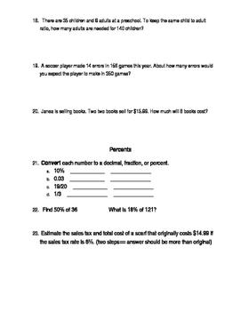Ratios and Percents Test Review