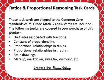 Ratios and Proportional Reasoning Task Cards - 7th Grade