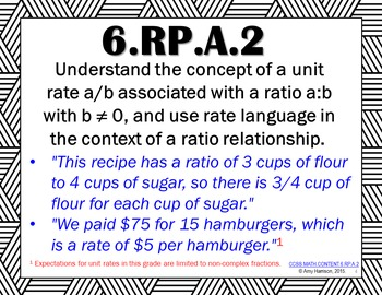 Ratios and Proportional Relationships - Posters for All 6.RP Standards