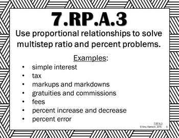 Ratios and Proportional Relationships - Posters for All 7.RP Standards