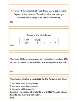 Ratios and Proportional Relationships Task Cards/Problems